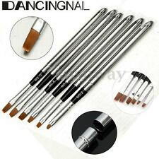 6X PROFESSIONAL ACRYLIC NAIL ART DESIGN BRUSHES PEN DETACHABLE LID TOOL KIT SET