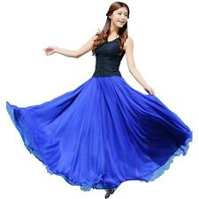 Summer Fashion Women Elastic Waist Chiffon Long Maxi Beach Dress Blue Skirts NEW