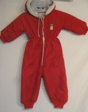 Vintage Snow Time Quilted Lining Snow Suit Red with Hood