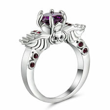 Size 8 Punk Skull Purple Amethyst Wedding Ring silver white Gold plated Jewelry