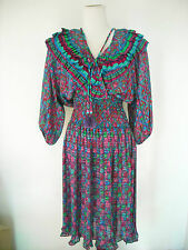 Vintage Diane Freis Dress Ruffle Multi Color Small - Medium NWOT
