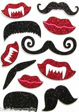GLITTER CHIPBOARD STICKERS  - DRACULA - LIPS  MOUSTACHES & FANGS