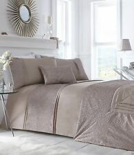 KING SIZE DUVET COVER SET LAVELLE MINK OFF GOLD CRINKLE BORDER BEDDING LUXURY