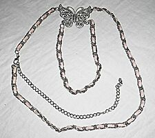 DIAMANTE BUTTERFLY ON THREADED CHAIN WITH DOUBLE SECTION NECKLACE BELT WOW PARTY