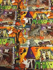 Hoffman Ghoul House Rocks Halloween Fabric Haunted Mansion Vampire Bats BTHY