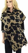 $475 BURBERRY Camel Animal Jacquard Wool & Cashmere Blanket Scarf NEW COLLECTION