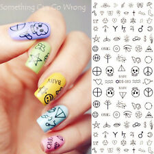 Nail Art Water Decals Transfer Stickers Quirky Skull Peace Symbol Music Tips