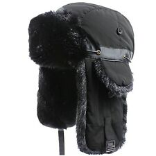 Mens Winter Hat Oversize Warm Oudoor Faux Fur Trapper Windproof Russian Bomber