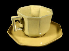 8-SIDED YELLOW GLAZE CHINESE YIXING POTTERY CUP SAUCER SET CHARACTER MARK STAMP