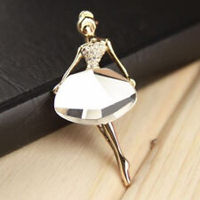 Vogue Princess Ballerina Brooch Pins Bling Crystal Brooches Ballet Girl Pins