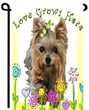 "Yorkie painting GARDEN FLAG EASTER ""Love Grows Here"" Dog ART Yorkshire Terrier"