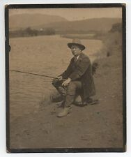 Large 1910 Card Mounted Photo of Fisherman sitting on his Creel