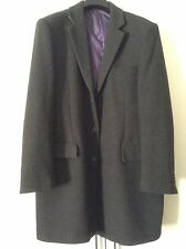 Mens Beautiful M & S Heavy Dark Grey XL Winter Woollen Overcoat - Purple Lining