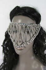 New women silver metal chains sexy eye cover fashion face mask head elastic band