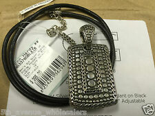 JOHN HARDY MENS DOT SILVER NUANSA DOGTAG PENDANT ON BLACK LEATHER CORD NECKLACE