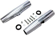 "CHROME 39MM LONG FORK SHROUDS COVERS 14"" FOR HARLEY SPORTSTER XL 1986-03 1-PAIR"