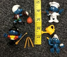 1980s Peyo Schleich Smurfs Chef Photographer Boxer In Bath Used Mixed Lot