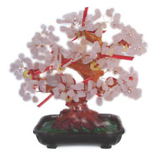 Feng Shui Rose Quartz Gem Tree with Chinese Coins