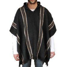 Wolle Jacken Herren PONCHO ALPAKA WOLLE Kapuze pullover Cape grau holzkohle