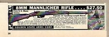 1957 Print Ad Mannlicher 8mm Bolt Action Rifles Golden State Arms