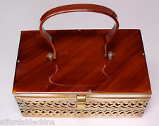 Vintage Butterscotch Lucite Bakelite & Filigree Brass Box Purse
