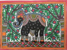 "Madhubani mithila PITTURA ""Elefante"" INDIAN Tribal FOLK FINE ART fatto a mano"