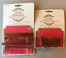 Lot Of 2 Early American Dollhouse Furniture NIP Bench & Cradle 1976 1:12 Scale