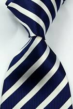 New Classic Striped Blue White JACQUARD WOVEN Silk Men's Tie Necktie #345