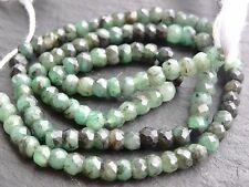 """HAND FACETED EMERALD RONDELLES, approx 4mm / 4.5mm, 13"""", 95+ beads"""
