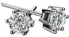 1.5 ct man-made brilliant diamond platinum post stud earrings gift box 2249