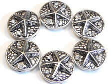 6 - 2 HOLE SLIDER BEADS STARFISH PEBBLE BACKGROUND CLEAR CRYSTALS BEACH BEADS
