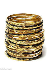 NWT $100 Amrita Singh Eileen 33 Piece Set Boho Bangle Bracelet Black Gold BBM679
