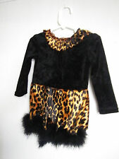 Leopard Charades Costume Infant toddler Fuzzy Plush Dress Up with Faux fur tail