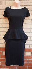 PAPAYA BLACK FLIPPY PEPLUM RUFFLE PENCIL BODYCON TUBE WORK PARTY DRESS 16 XL