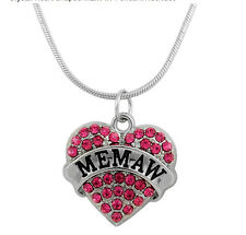 """MEMAW""  PINK Heart Charm Necklace Grandmother GRANDMA MOTHERS DAY GIFT"