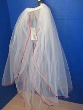 Gorgeous Short WEDDING BRIDAL 2 TIER VEIL with RED APPLE CORD EDGE~NWT