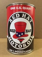 Red Hat Motor Oil Can Rare Empty Quart Gas sign Reproduction Vintage Style
