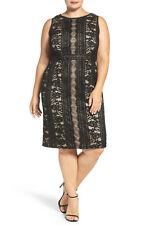 Adrianna Papell Women's Embroidered Directional Striped Lace Dress.SZ:22W