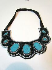 NATIVE AMERICAN FULLY BEADED TURQUOISE COLOR, COLLAR NECKLACE,