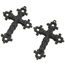 5pcs Black Flower Carved Two Layer Cross Alloy Pendants Jewelry Craft Findings D