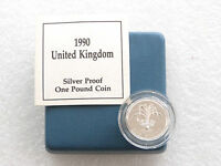 1990 Royal Mint Welsh Leek £1 One Pound Silver Proof Coin Box Coa
