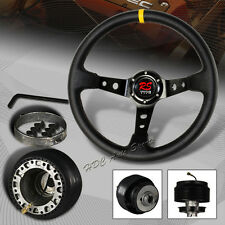 350MM Black / Yellow Leather Deep Dish 6-Hole Steering Wheel + For Mustang Hub