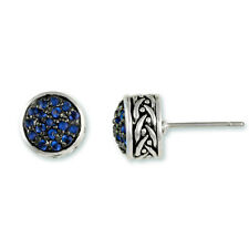 NEW  Dainty Weave Design Pave Sapphire CZ On Black Rhodium Circle Earrings