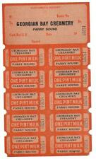 PARRY SOUND-GEORGIAN BAY CREAMERY- WWAR-2 -1940'S  VINTAGE-- MILK TICKETS/TOKENS