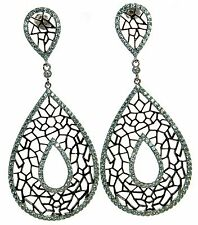 Solid 925 Sterling Silver Black & White Lab Simulated Diamond Teardrop Earrings'