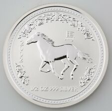 2002 Lunar Year of the Horse Australian 1/2 .5 Half Ounce 999 Silver BU Coin