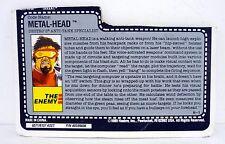 GI JOE METAL HEAD FILE CARD Vintage Action Figure HALF CUT / GOOD SHAPE 1990