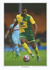 A 12 x 8 inch photocard personally signed by Vadis Odjidja Ofoe of Norwich City.