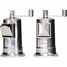 """William Bounds HM Retro Salt & Pepper Mill Set 4.5"""" French Design Aluminum"""