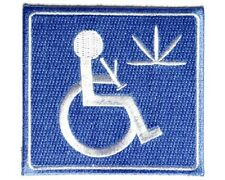 "(RR) HANDICAP STONER  3"" x 3"" iron on patch (3795) Medical Marijuana"